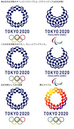 2020東京五輪エンブレム:左右非対称の具合と改定案